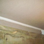 lime plastering, sand and lime float coat on lath and plaster ceiling and new cornice
