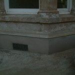 new sand and cement plinth, and top mould detail