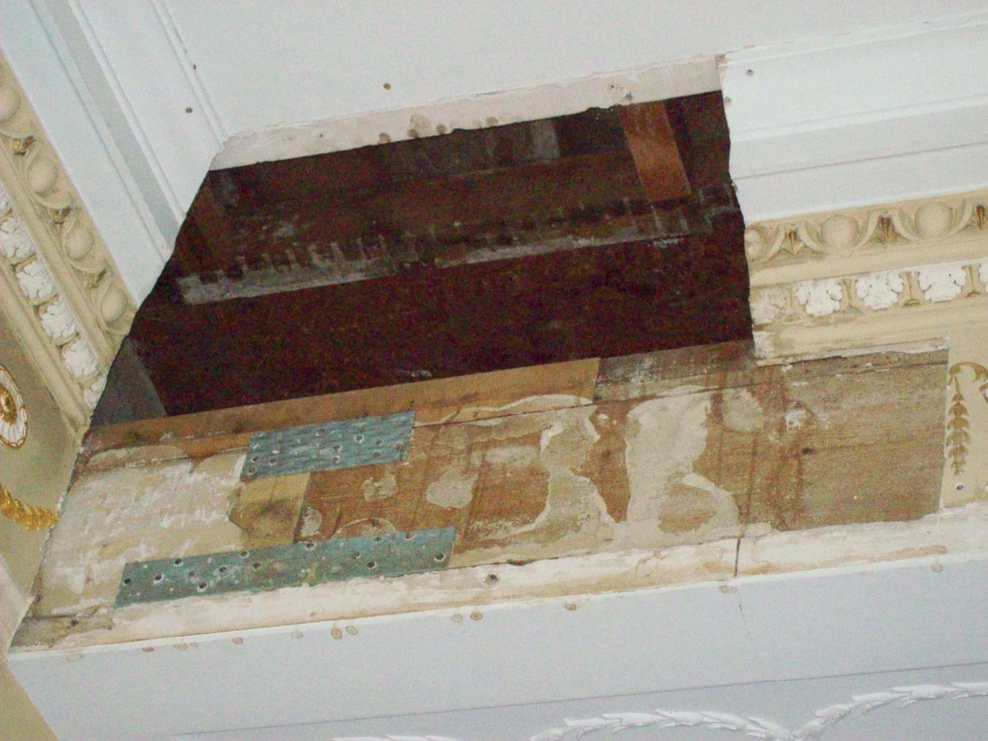 water damaged cornice and freize