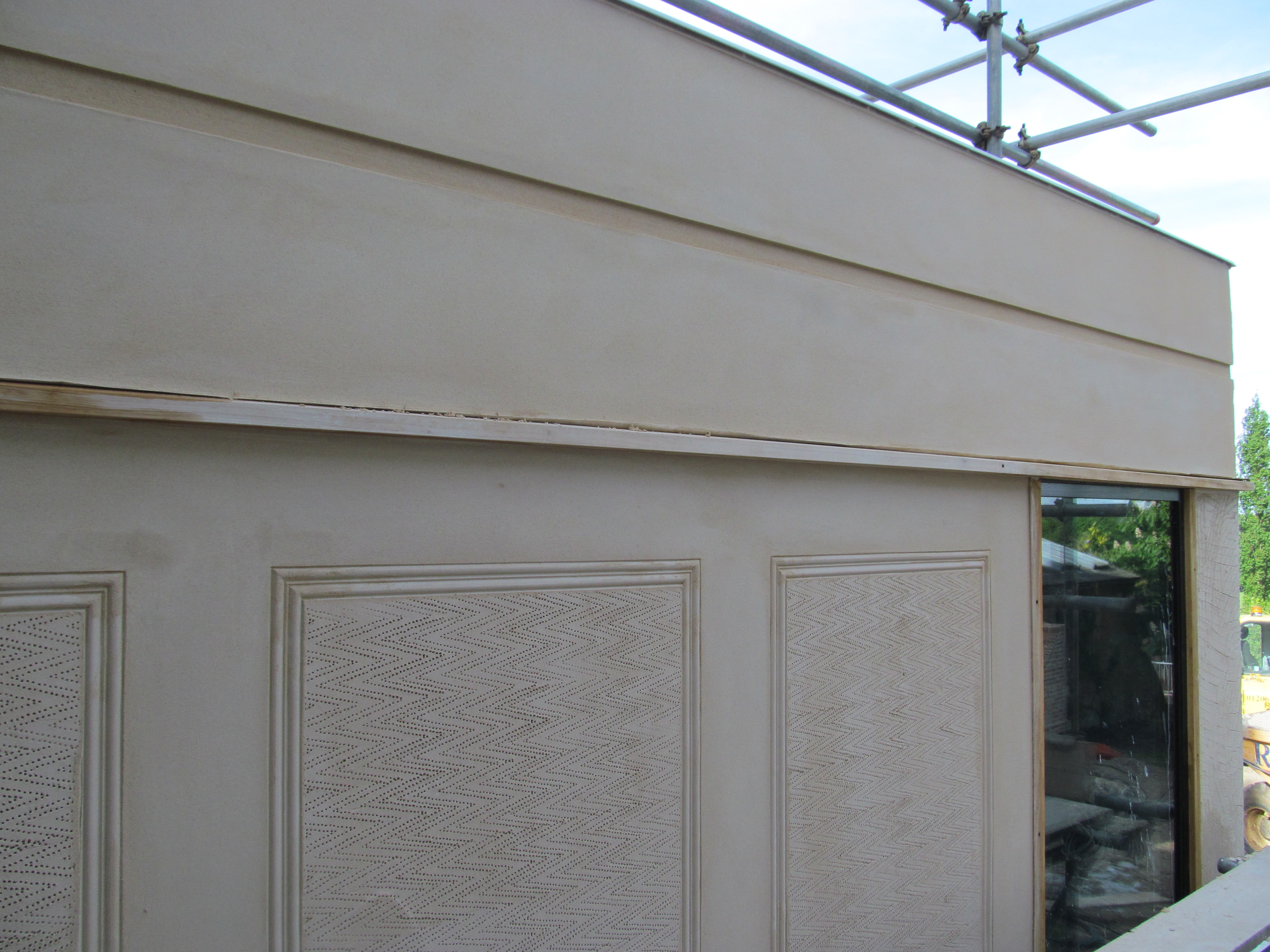lime render - pargeting and rustication complete